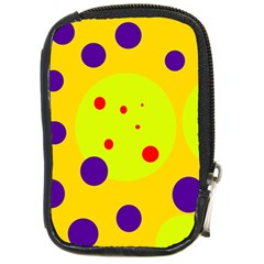 Yellow and purple dots Compact Camera Cases