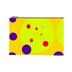 Yellow and purple dots Cosmetic Bag (Large)