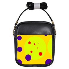Yellow and purple dots Girls Sling Bags