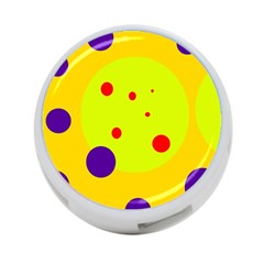 Yellow and purple dots 4-Port USB Hub (Two Sides)
