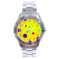 Yellow and purple dots Stainless Steel Analogue Watch