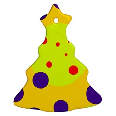 Yellow and purple dots Christmas Tree Ornament (2 Sides)