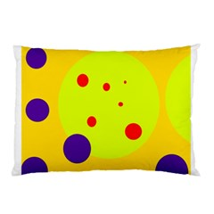 Yellow and purple dots Pillow Case (Two Sides)