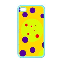 Yellow and purple dots Apple iPhone 4 Case (Color)
