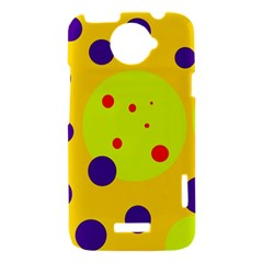 Yellow and purple dots HTC One X Hardshell Case