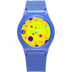 Yellow and purple dots Round Plastic Sport Watch (S)