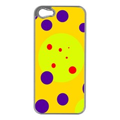 Yellow and purple dots Apple iPhone 5 Case (Silver)