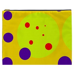 Yellow and purple dots Cosmetic Bag (XXXL)