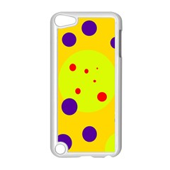 Yellow and purple dots Apple iPod Touch 5 Case (White)
