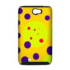 Yellow and purple dots Samsung Galaxy Note 2 Hardshell Case (PC+Silicone)