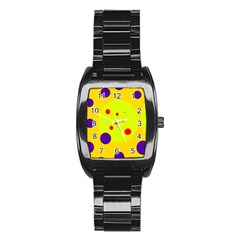 Yellow and purple dots Stainless Steel Barrel Watch