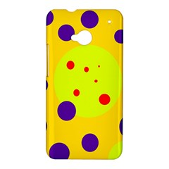 Yellow and purple dots HTC One M7 Hardshell Case