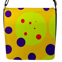 Yellow and purple dots Flap Messenger Bag (S)