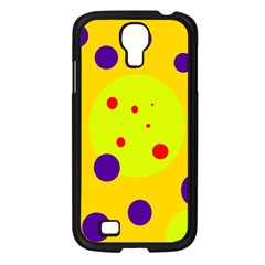 Yellow and purple dots Samsung Galaxy S4 I9500/ I9505 Case (Black)