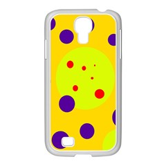 Yellow and purple dots Samsung GALAXY S4 I9500/ I9505 Case (White)