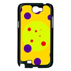 Yellow and purple dots Samsung Galaxy Note 2 Case (Black)