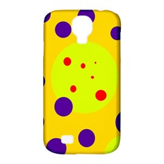 Yellow and purple dots Samsung Galaxy S4 Classic Hardshell Case (PC+Silicone)