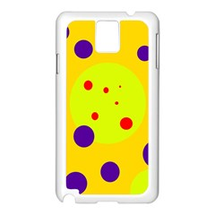 Yellow and purple dots Samsung Galaxy Note 3 N9005 Case (White)