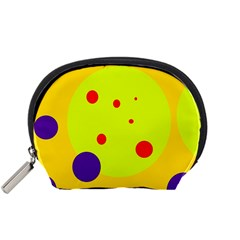 Yellow and purple dots Accessory Pouches (Small)