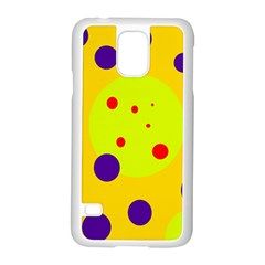 Yellow and purple dots Samsung Galaxy S5 Case (White)