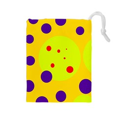 Yellow and purple dots Drawstring Pouches (Large)
