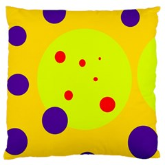 Yellow and purple dots Large Flano Cushion Case (One Side)