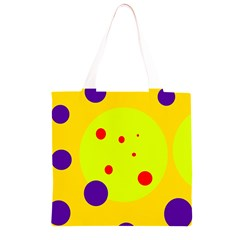 Yellow and purple dots Grocery Light Tote Bag