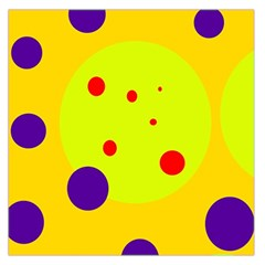 Yellow and purple dots Large Satin Scarf (Square)