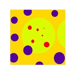 Yellow and purple dots Small Satin Scarf (Square)