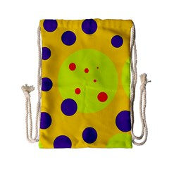Yellow and purple dots Drawstring Bag (Small)