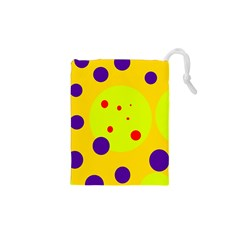 Yellow and purple dots Drawstring Pouches (XS)