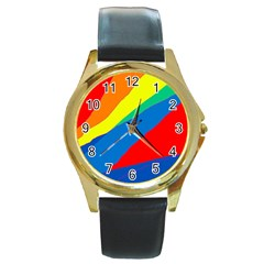 Colorful abstract design Round Gold Metal Watch