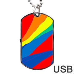 Colorful abstract design Dog Tag USB Flash (One Side)