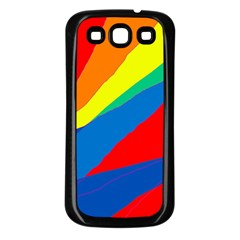 Colorful abstract design Samsung Galaxy S3 Back Case (Black)