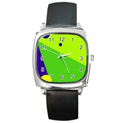 Colorful abstract design Square Metal Watch