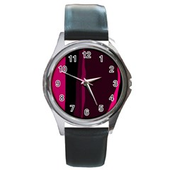 Pink and black lines Round Metal Watch