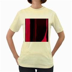 Pink and black lines Women s Yellow T-Shirt