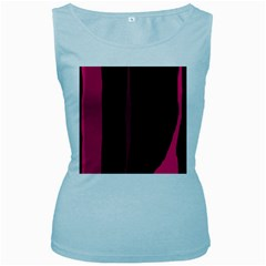 Pink and black lines Women s Baby Blue Tank Top