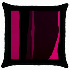 Pink and black lines Throw Pillow Case (Black)