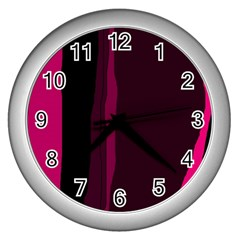 Pink and black lines Wall Clocks (Silver)