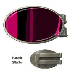 Pink And Black Lines Money Clips (oval)