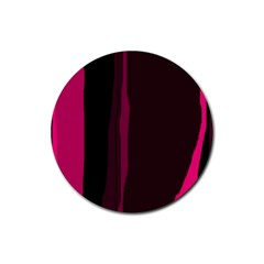 Pink and black lines Rubber Round Coaster (4 pack)