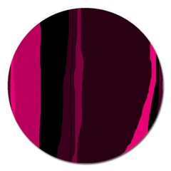 Pink and black lines Magnet 5  (Round)