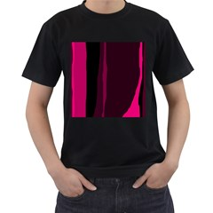 Pink and black lines Men s T-Shirt (Black) (Two Sided)