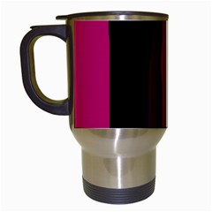 Pink and black lines Travel Mugs (White)