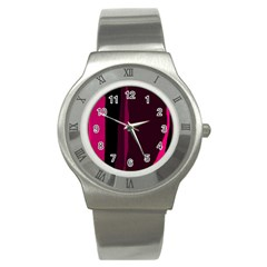 Pink and black lines Stainless Steel Watch