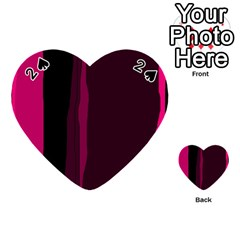 Pink and black lines Playing Cards 54 (Heart)