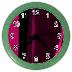 Pink and black lines Color Wall Clocks