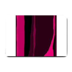 Pink and black lines Small Doormat