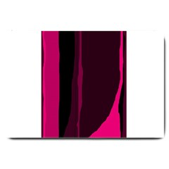 Pink and black lines Large Doormat